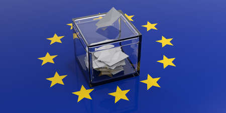 Stembus op een Europese Unie vlag achtergrond. 3D illustratie