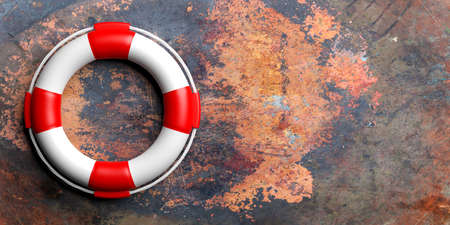 Life buoy on metal rusty background with copy space. 3d illustration Stock Photo
