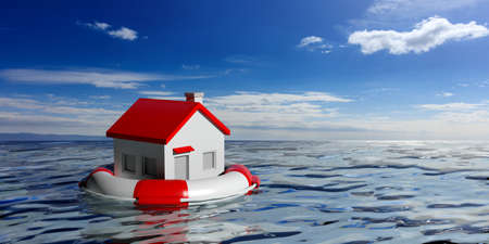 Life buoy and a small house on blue sea and sky background. 3d illustration