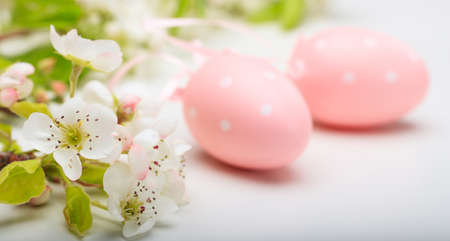 Easter eggs and almond flowers on white background Stock Photo