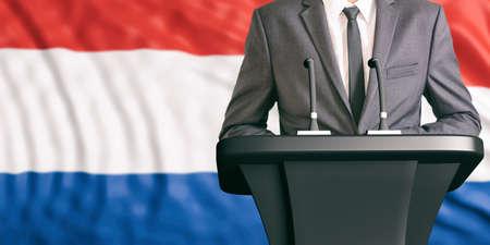 dais: Businessman or politician making speech on Netherlands flag background. 3d illustration