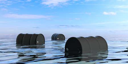 barel: Black oil barrels in the sea. 3d illustration