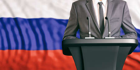 convention: Businessman or politician making speech on Russia flag background. 3d illustration