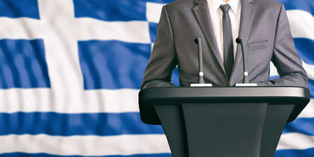 convention: Businessman or politician making speech on Greece flag background. 3d illustration
