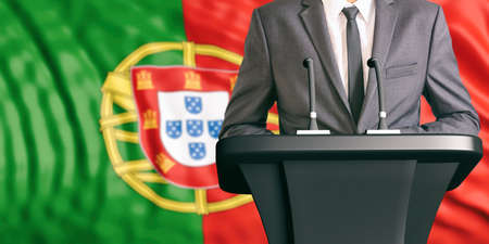 congress: Businessman or politician making speech on Portugal flag background. 3d illustration Stock Photo