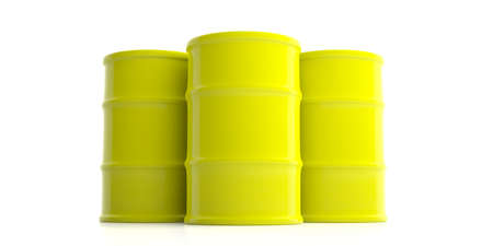 Yellow oil barrels isolated on white background. 3d illustration