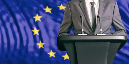 Businessman or politician making speech on European Union flag background. 3d illustration