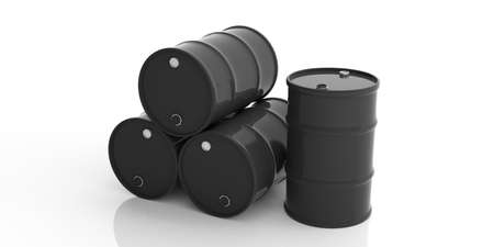oil and gas industry: Black oil barrels isolated on white background. 3d illustration