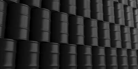 Black oil barrels stack background. 3d illustration