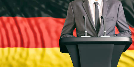 dais: Businessman or politician making speech on Germany flag background. 3d illustration