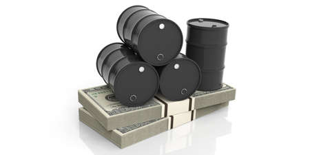oil and gas industry: Black oil barrels on one hundred dollars banknotes. 3d illustration Stock Photo