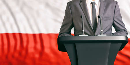 congress: Businessman or politician making speech on Poland flag background. 3d illustration