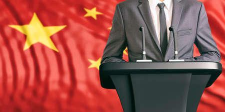 Businessman or politician making speech on China flag background. 3d illustration