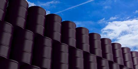barel: Black oil barrels stack on blue sky background. 3d illustration