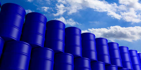 Blue oil barrels stack on blue sky background. 3d illustration