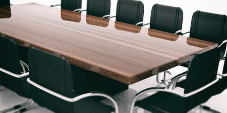 council: Meeting table and chairs close up. 3d illustration Stock Photo