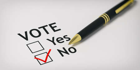 ball point: Voting no - check box on white paper. 3d illustration