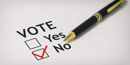 Voting no - check box on white paper. 3d illustration