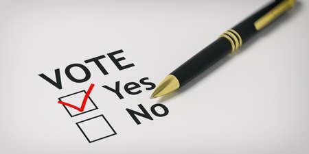 Votación sí - casilla de verificación en papel blanco. Ilustración 3d Foto de archivo