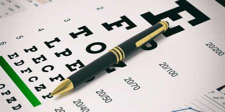 Black ballpoint pen isolated on an eye vision test. 3d illustration