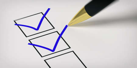 Blue marks on a checklist on white paper. 3d illustration