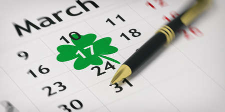 Black ballpoint pen on a calendar and St Patricks day circled. 3d illustration Stock Photo