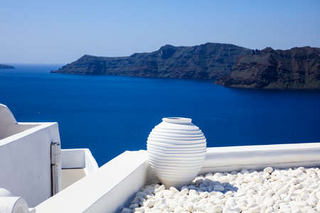 Santorini island, Greece - White roofs and caldera view