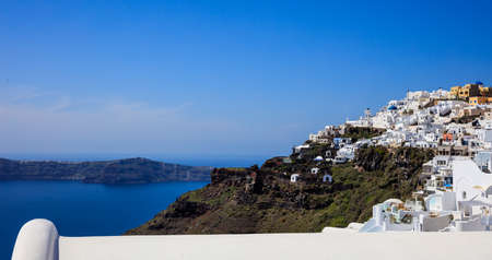 Santorini island, Greece - Fira caldera over Aegean sea