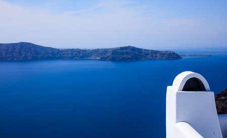Santorini island, Greece - White chimney and caldera view