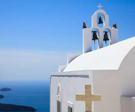 Santorini, Greece - White church and caldera view