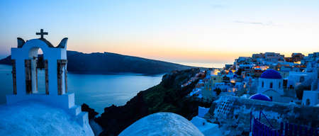 Santorini, Greece - Sunset over Aegean sea and caldera view Banco de Imagens