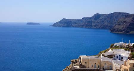 Santorini island, Greece - Oia caldera over Aegean sea
