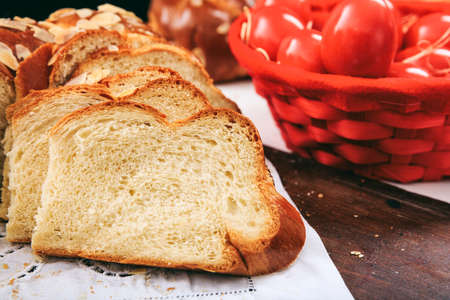 Easter traditional bread on a white tablecloth Stock Photo