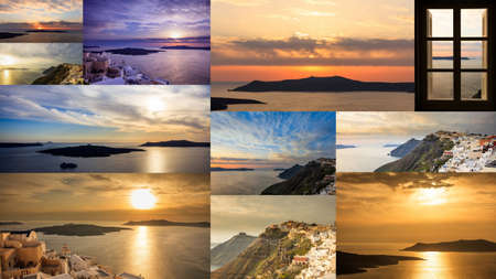 cupolas: Santorini island, Greece - Sunset at Fira village - collage Stock Photo