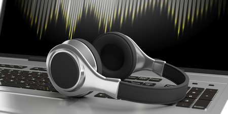 Pair of headphones on a laptop. 3d illustration