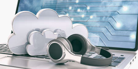 Computer cloud and headphones on a laptop on white background. 3d illustration