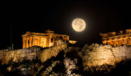 Full moon over Acropolis of Athens, Greece