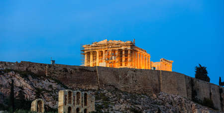 lighting background: Acropolis of Athens, Greece on blue sky background - Restoration works Stock Photo