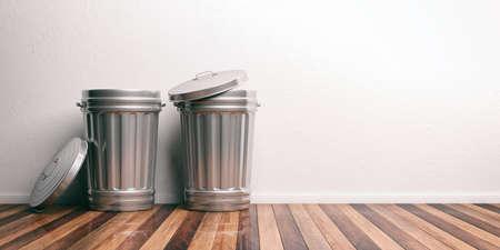 dispose: Two trash bins on a wooden floor. 3d illustration