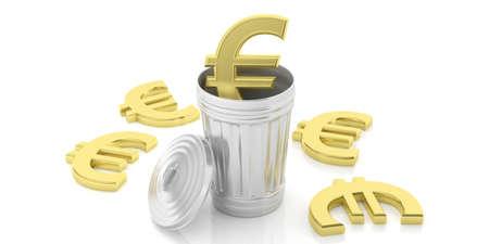 cash money: Golden euro symbol and steel trash bin isolated on white background. 3d illustration Stock Photo