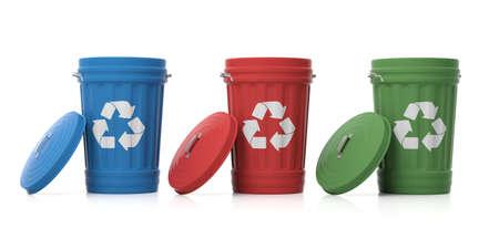 Prullenbakken voor recycling geïsoleerd op een witte achtergrond. 3d illustratie