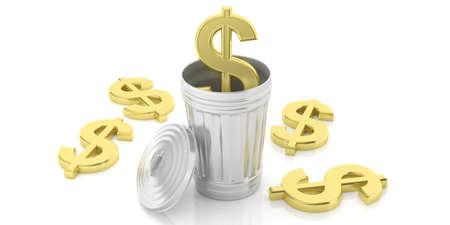 steel: Golden dollar symbol and steel trash bin isolated on white background. 3d illustration