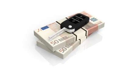 Car key on fifty euros banknotes isolated on white background. 3d illustration