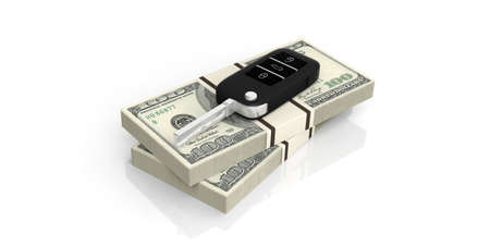 Car key on one hundred dollars banknotes isolated on white background. 3d illustration Stock Photo