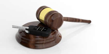 Car key and judge gavel on white background. 3d illustration