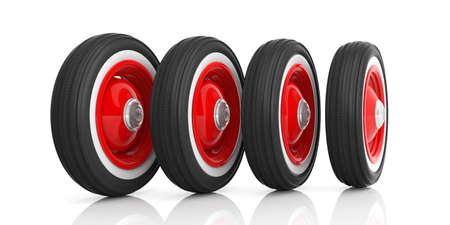 alloy wheel: Vintage car tyres isolated on white background. 3d illustration
