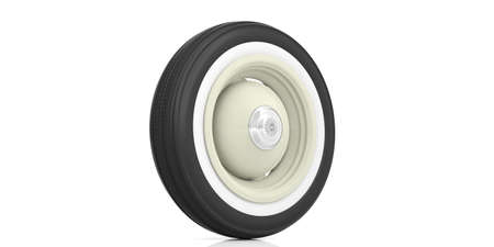 alloy: Vintage car tyre isolated on white background. 3d illustration