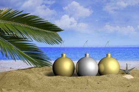 Christmas balls on a sandy beach. Christmas beach vacation concept. 3d illustration