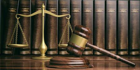 法律テーマ。正義のスケール、小槌、低い本。3 d イラストレーション