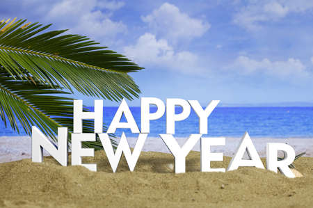 Happy new year on a sandy beach. New year beach vacation concept. 3d illustration